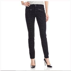 NYDJ Black Super Skinny Velvet Houndstooth Jeans
